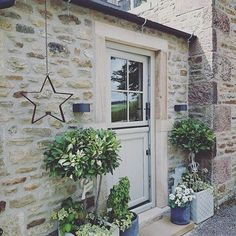 : For this front door paint, try Dulux Dusted Moss 2...perfect with Cotswold Stone from The Best Front Door Neutrals To Paint Cotswold Stone House Part 1 over on Modern Country Style