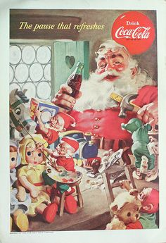 Haddon Sundblom, criador do Papai Noel da Coca-cola Coca Cola Christmas, Noel Christmas, Vintage Christmas Cards, Retro Christmas, Vintage Cards, Father Christmas, Vintage Labels, Vintage Holiday, Vintage Signs