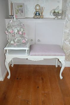 French Style Shabby Chic Painted Farrow And Ball Telephone Table Seat Ebay