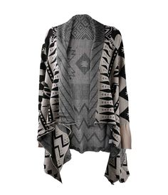 ZLYC Women Aztec Tribal Geometric Blanket Wrap Waterfall Open Front Cardigan Sweater ** For more information, visit image link.