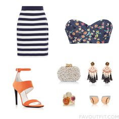 Fashion Items With Mds Stripes Skirt Harvey Faircloth Proenza Schouler Sandals And Box Clutch From May 2016 #outfit #look