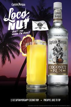 A new summer classic with a dash of loco. Just top Captain Morgan Coconut Rum with some pineapple juice, and done. #SunsOutRumsOut