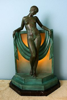 French Art Deco boudoir lamp, Pierre Le Faguays, 1920s-30s