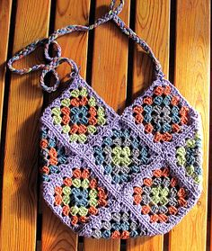 "Ravelry: 139-15 ""Celebrating Spring"" - Bag with granny squares in ""Paris"" pattern by DROPS design"