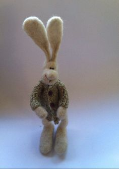 Needle Felted Animal, Easter Bunny, Rabbit Wearing Hand Knit Sweater