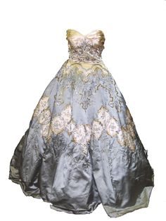 Balmain haute couture ballgown. Paris, France 1956. Made from silk with metallic and synthetic hand embroidery. House of Balmain. Worn by a guest to Grace Kelly's wedding to the Prince of Monaco.