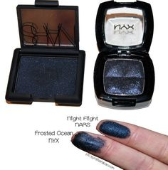 Night Flight by NARS // Frosted Ocean by NYX  #mac #nyx #dupe #swatch #makeup