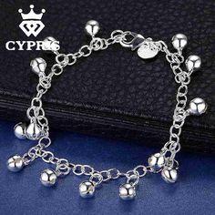WHOLESALE Bell Bracelet new arrival Fashion silver rolo chain bracelet women lady children chic popular Factory Price jewelry
