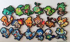 Starter Pokemon Perler Sprites by Toriroz.deviantart.com on @deviantART