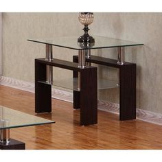 Best Quality Furniture Espresso End Table With a Clear Glass top CT220, Brown