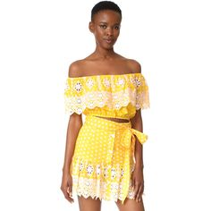 Miguelina Dakota Off the Shoulder Top (338 AUD) ❤ liked on Polyvore featuring tops, rubber ducky polka dot, yellow polka dot top, yellow top, polka dot crop top, polka dot top and cut-out crop tops