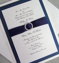 Elegant wedding invitation, rhinestone wedding invitation, navy, ivory, silver wedding invitation, metallic wedding invitation. $5.85, via Etsy.