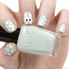 #Easter Bunny #NailArt featuring Zoya #NailPolish in Neely, #Zoya Snow White, GeiGei and Raven.