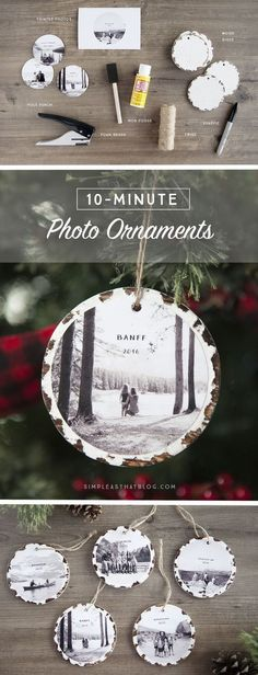 Trim the tree with these 10 minute photo keepsake ornaments. They take no time a… Trim the tree with these 10 minute photo keepsake ornaments. They take no time at all to make and it will mean so much to fill the tree with family memories. Noel Christmas, Diy Christmas Ornaments, Christmas Projects, Winter Christmas, All Things Christmas, Holiday Crafts, Christmas 2019, Christmas Centerpieces, Homemade Gifts For Christmas