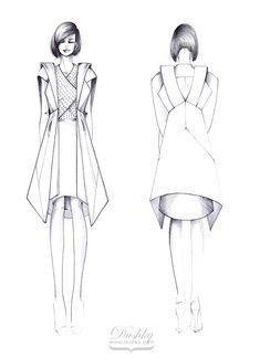 fashion sketch by #dushky | #fashion #illustration #design #sketch #future #futuristic #womens #wear #costume