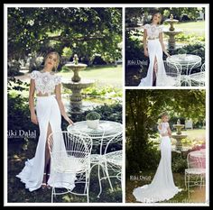 Wholesale Mermaid Wedding Dresses - Buy 2015 Riki Dalal Summer Chiffon Beach Wedding Dresses Mermaid High Neck Lace Bodice Two Piece White Front Slit Backless Wedding Bridal Gowns, $105.61 | DHgate