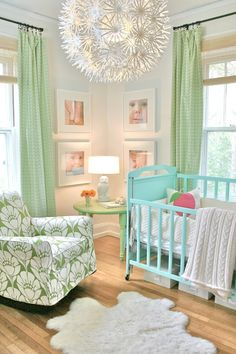 Looovely nursery - Like the idea of a creative funky light fixture being the centerpiece
