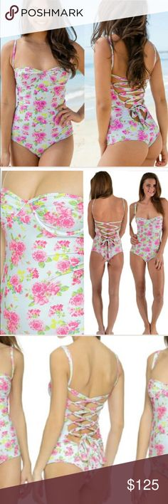 Tori Praver One Piece Casablanca Rose New California corset back one piece full suit in Casablanca rose floral print by tori praver swimwear in Sz small, beautiful one piece swimsuit in green & pink roses pattern, this swimsuit features underwire cups & adjustable shoulder straps that lace down and tie at lower back, price is firm paid 220$ for this sold out piece! Will trade for another new bikini San Lorenzo Swim Bikinis