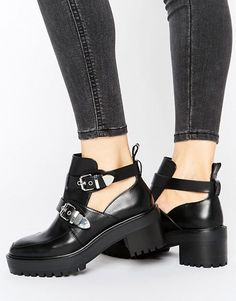 Pull&Bear chunky buckle biker boot with cutouts
