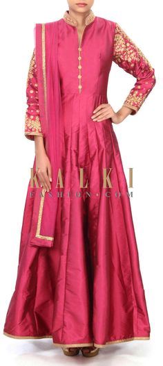 Buy this Dark magenta anarkali suit adorn in collar and sleeve embroidery only on Kalki