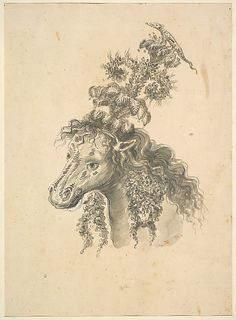 Possibly by Baccio del Bianco (Italian, 1604–1656). Design for the Headdress of a Horse Crowned by a Small Lizard, 1620–1800. The Metropolitan Museum of Art, New York. The Elisha Whittelsey Collection, The Elisha Whittelsey Fund, 1948 (48.122.2(1a)) | Horse's head, depicted from the side, with a headdress made up out of feathers, flowers and crowned by a small lizard. Flowers are also hanging from the horse's neck. #horses