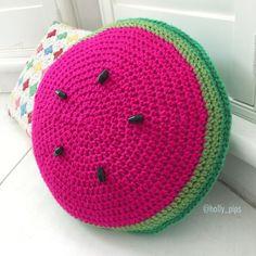 Watermelon Cushion - part of Watermelon free crochet pattern roundup Crochet Cushion Cover, Crochet Pillow Pattern, Crochet Cushions, Crochet Patterns, Cushion Pillow, Afghan Patterns, Square Patterns, Knitting Patterns, Crochet Fruit