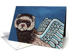 Ferret Angel Pet Sympathy Greeting card by Melinda Dalke