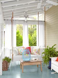 enclosed porch window ideas | outdoor curtains blue porch floor porch swing