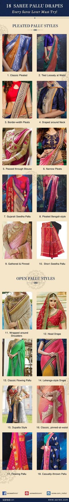 Add extra oomph to your saree style with these gorgeous saree pallu drapes. Pick practical, easy to carry ones or fancy, grand saree pallu draping styles. Trendy Sarees, Stylish Sarees, Saree Draping Styles, Saree Styles, Blouse Styles, Saree Blouse Patterns, Saree Blouse Designs, Indian Attire, Indian Wear
