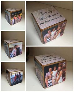 Photo cube personalised with your own message Wooden Abc Blocks, Wooden Block Puzzle, Baby Blocks, Love Box, Picture Cube, Diy Cadeau Noel, Cadeau Surprise, Rainbow Blocks, Wooden Toys For Toddlers