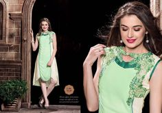 Royal Georgette Green and Off White Kurti With Embroidery Work