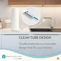 This UV Water Purifier ensures the best 4-Stage Water filtration to produce clean, safe drinking water.  The design for the tubing is functionality made to keep the water from being contaminated and allows that Diverter valve to be easily installed in a kitchen set-up Kitchen Set Up, Safe Drinking Water, Minimalist Design, Floating Nightstand, Cleaning, Stage, Elegant, Home, Ideas