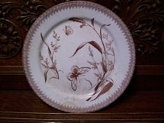 Antique Brown Transferware Plate Staffordshire Ironstone Aesthetic Movement Dish | eBay