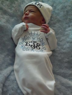 Monogrammed  Infant Gown and Hat Set by AmyBsEmbroidery on Etsy, $32.00