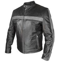 Xelement Men's Grey Striped Black Leather Jacket