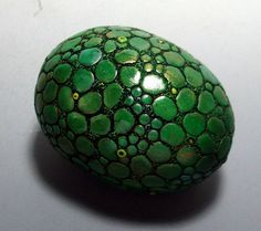 Dragon Egg Paperweight Metallic Green Scales Polymer Clay by MandarinMoon on Etsy