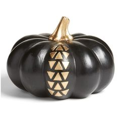 Levtex Black & Gold Pumpkin Decoration ($14) ❤ liked on Polyvore featuring home, home decor, holiday decorations, pumpkin home decor, fall home decor, black home decor, autumn home decor and gold home accessories