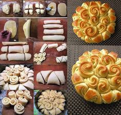 Festive Bread - Food Recipes Can't wait to try this! Bread And Pastries, Pastries Recipes, Festive Bread, Holiday Bread, Bread Recipes, Cooking Recipes, Bread Art, Snacks, Creative Food