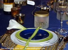 Sapphire Blue & Lime Green Table Decor | The Decorating Diva, LLC