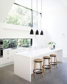 Modern white kitchen with clean lines