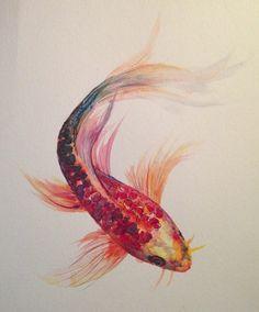 "Watercolor Painting ""Koi Fish"" 9"" x 12"": Original Watercolor Mixed Media Art Painted on Paper"