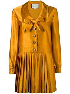 Gucci плиссированное платье с длинными рукавами