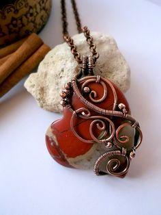 Heart pendant  Copper pendant  Wire wrap pendant by ElanorStudio, €45.00