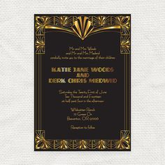 gorgeous gatsby invitation - printable file - 1920s art deco wedding invitation