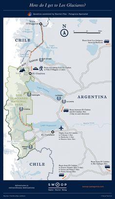 How do I get to Los Glaciares? Patagonia Map