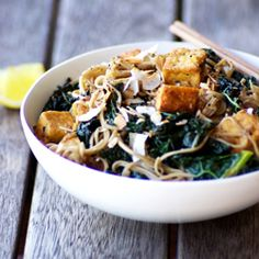 Teriyaki Tofu Soba Noodles with Kale and Coconut! Vegan friendly and free of gluten, grains and refined sugar.