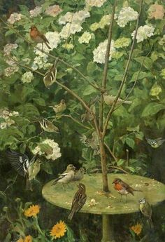 The Bird Table by Charles Walter Simpson (1885–1971). Oil on canvas