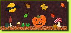 Halloween Runner 2 di Kaja - free pattern, great patterns for fall mug rug...