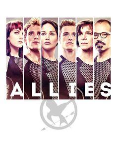 From the left to the right: Johanna-Finnick-Katniss-Peeta-Wiress-Beetee