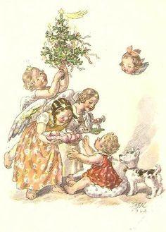 Vintage Czech Christmas Angels Card by Marie Fisherová-Kvěchová ~ Peach & Orange Details